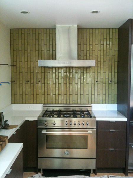 2x8 vertical stagger Heath tile at kitchen range splash