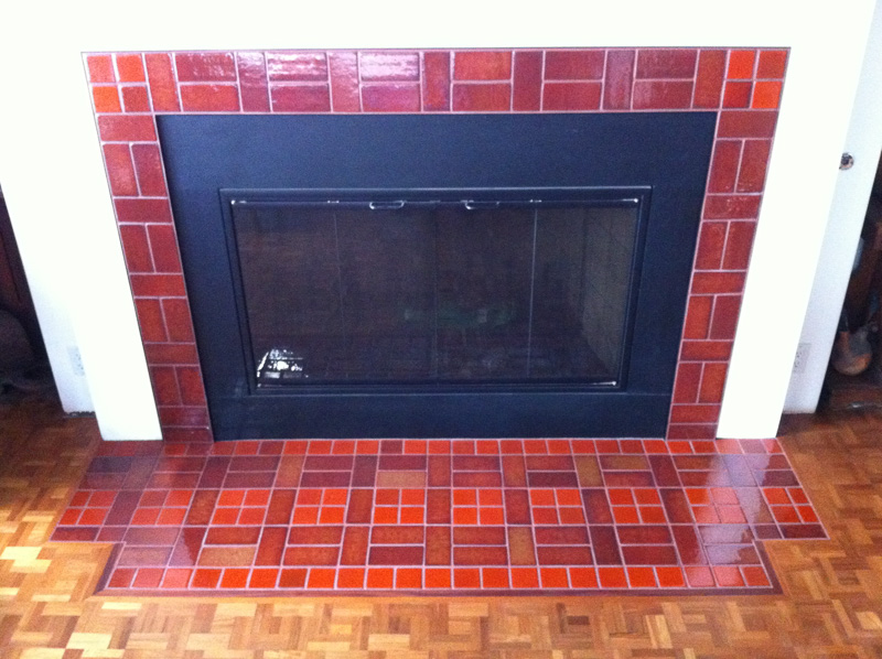 3x6 and 3x3 brick pattern fireplace surround and hearth set 'flush finish' with wood flooring