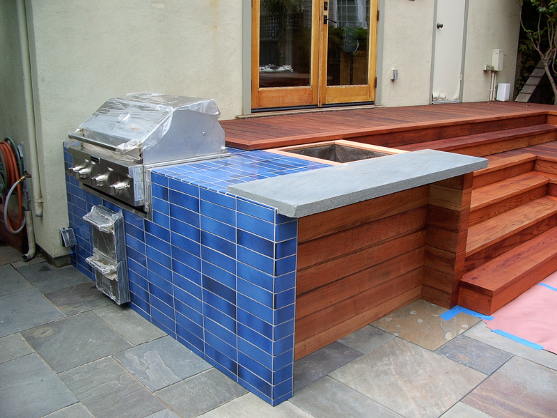 3x9 stacked Heath tile face of outside BBQ unit