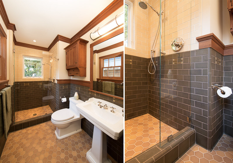 Light and dark subway tile shower and wainscot with mosaic inlay details and (2) color 3 inch hex floor