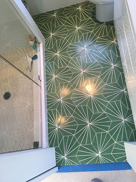 patterned large hex cement tile floor and Heath 'wide hex 'shower floor in SF bath remodel